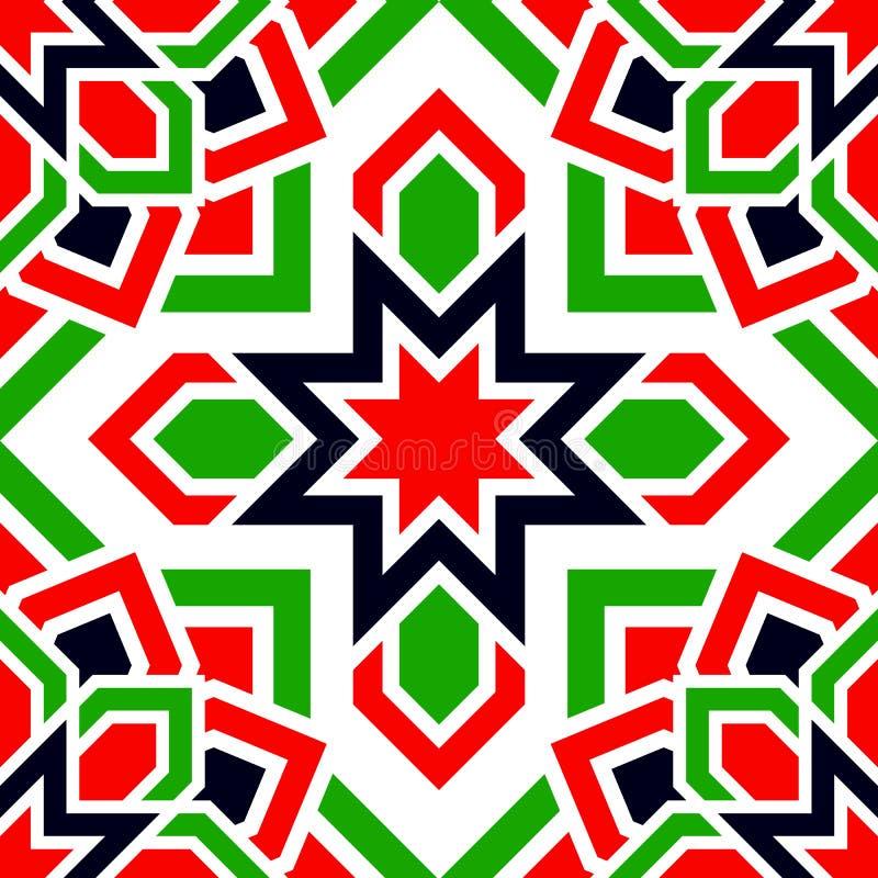 Teste padrão sem emenda do vetor árabe Os UAE repetiram o fundo Cores tradicionais da bandeira dos emirados Vermelho, verde, bran ilustração stock