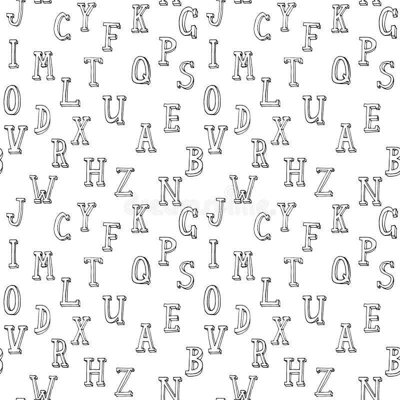 Teste padrão sem emenda do vetor alfabético ilustração do vetor