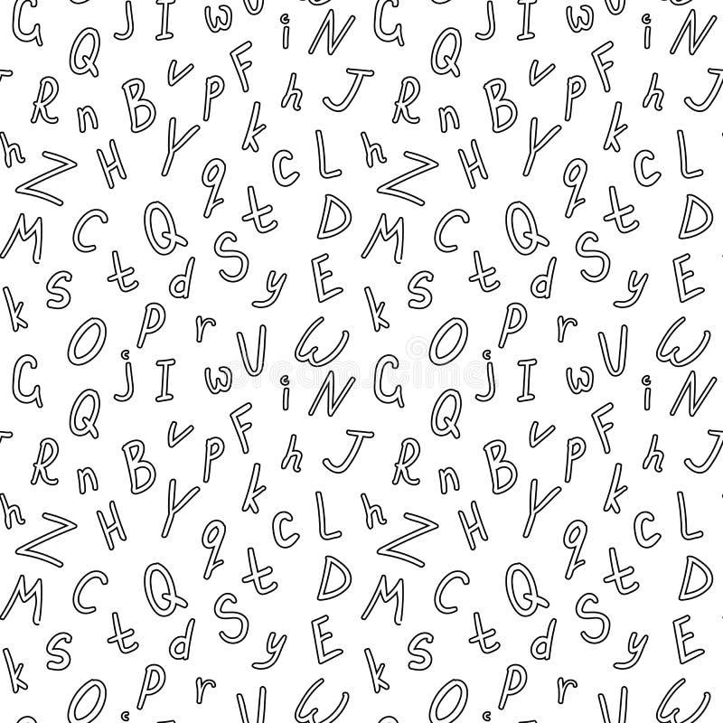 Teste padrão sem emenda do vetor alfabético, teste padrão preto e branco do ABC ilustração stock