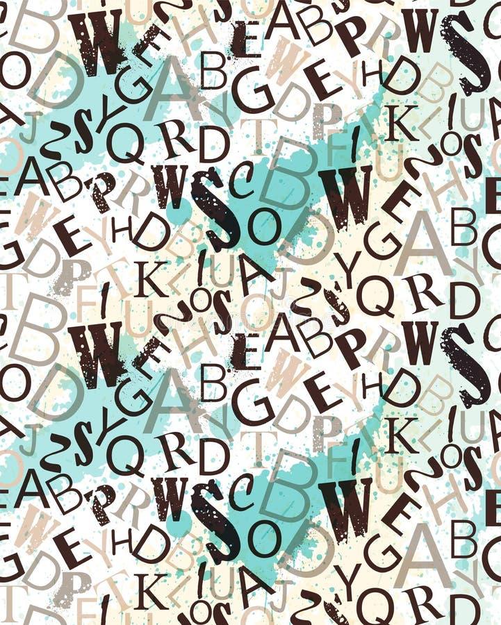 Teste padrão sem emenda do vetor do alfabeto do Grunge Repetindo a textura aleatória das letras ilustração do vetor