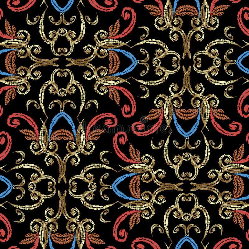 Teste padrão sem emenda do vetor barroco do bordado   ilustração royalty free