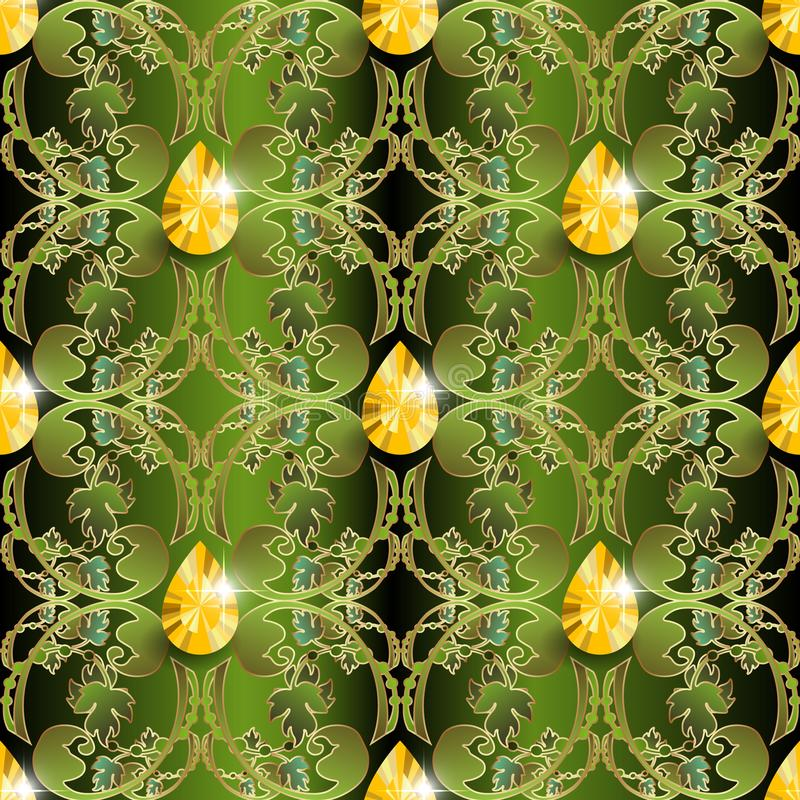 Teste padrão sem emenda do vetor barroco ornamentado da joia Fundo floral do damasco decorativo luxuoso Contexto frondoso do ouro ilustração do vetor