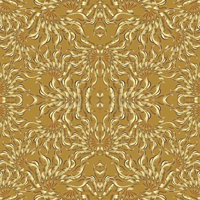 Teste padrão sem emenda do vetor barroco do ouro Backgroun modelado ornamentado ilustração do vetor
