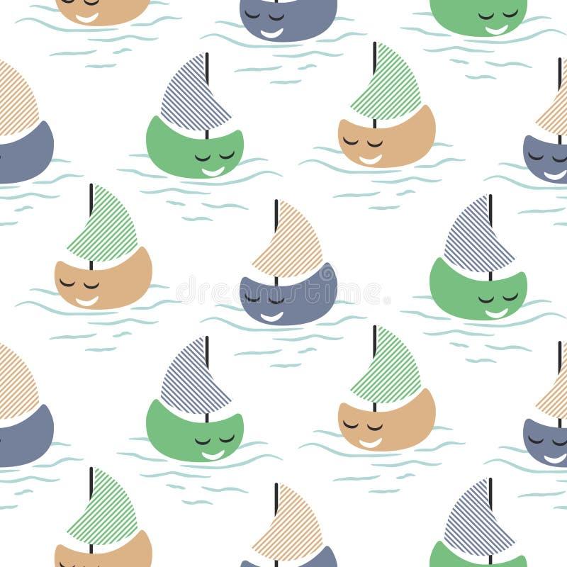 Teste padrão sem emenda do vetor do bebê bonito do barco ilustração stock
