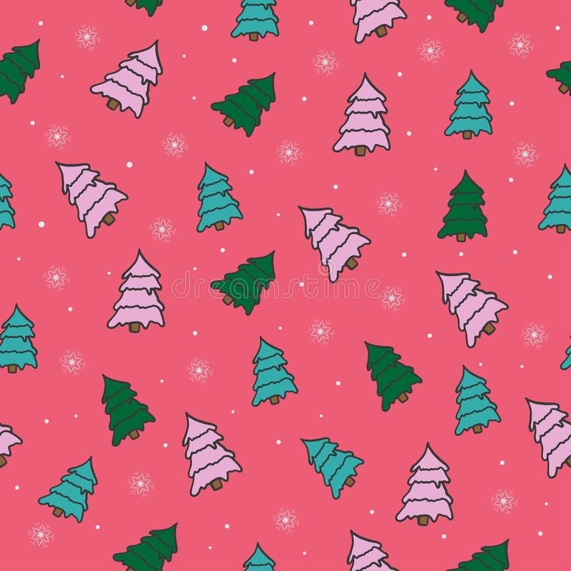 Teste padrão sem emenda do vetor bonito com árvores de Natal ilustração do vetor