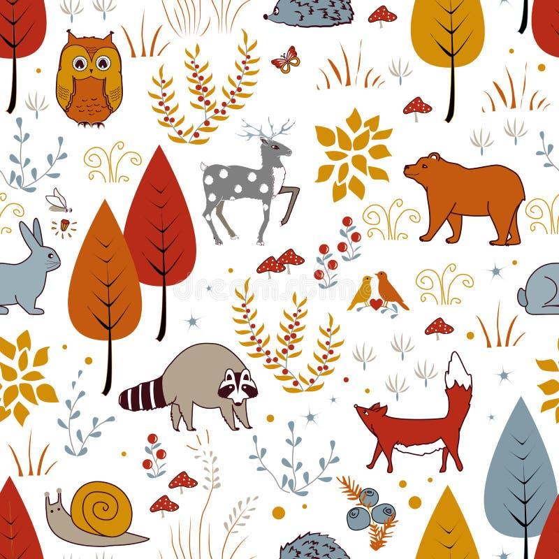 Teste padrão sem emenda do vetor bonito com plantas, pássaros, urso, cervos, guaxinim, e raposa da floresta ilustração stock