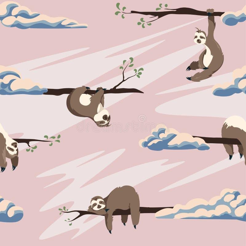 Teste padrão sem emenda do vetor bonito das preguiças Textura com animais e nuvens dos desenhos animados em um fundo cor-de-rosa ilustração royalty free