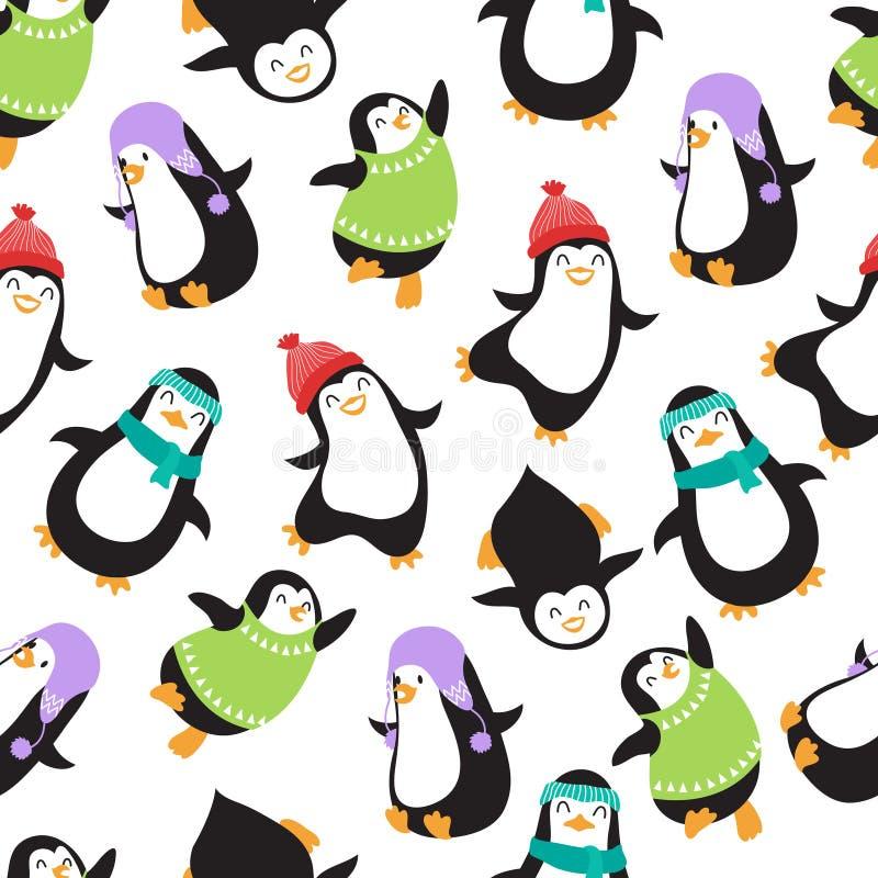 Teste padrão sem emenda do vetor bonito dos pinguins do bebê do Natal ilustração do vetor