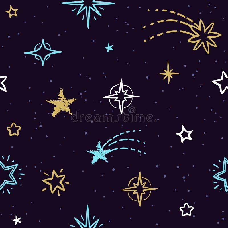 Teste padrão sem emenda do vetor do céu com estrelas da garatuja Fundo estrelado para a embalagem caseiro do presente do Natal ilustração royalty free