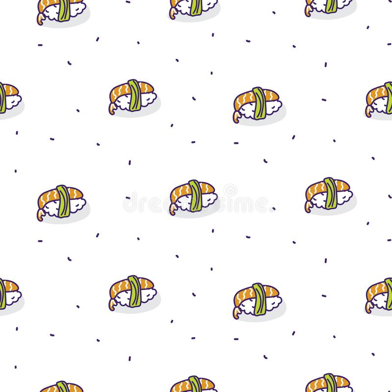 Teste padrão sem emenda do vetor do camarão do sushi ilustração do vetor