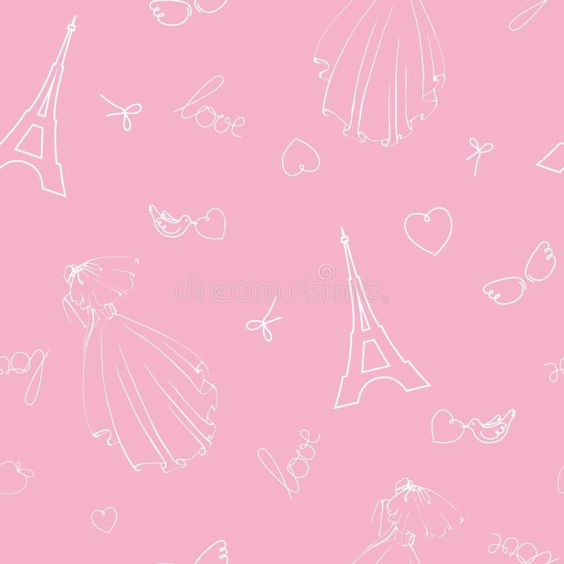 Teste padrão sem emenda do vetor do casamento Noiva em um vestido e em um véu longos com o noivo, uma viagem romântica ilustração stock