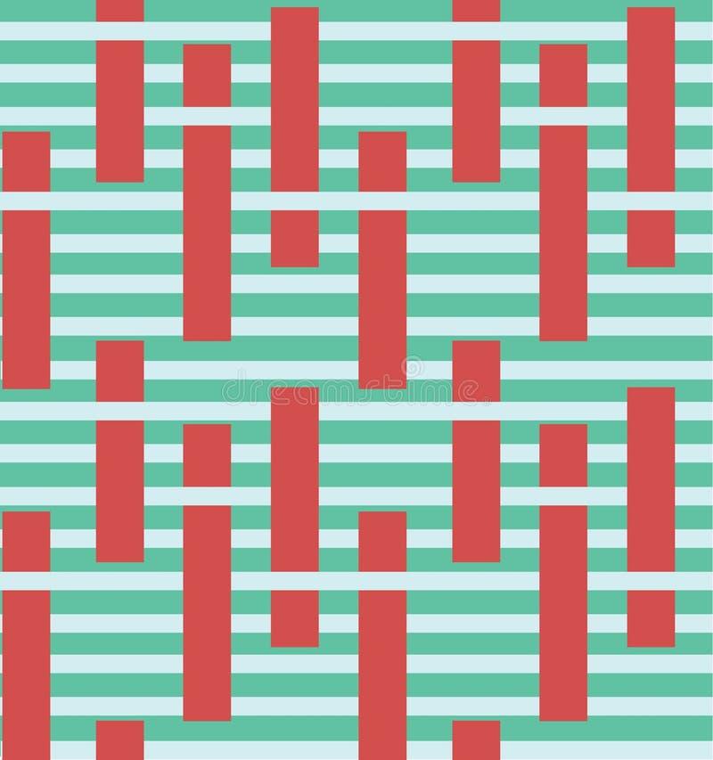 Teste padrão sem emenda do vetor colorido abstrato da listra com elementos de bloco r ilustração stock