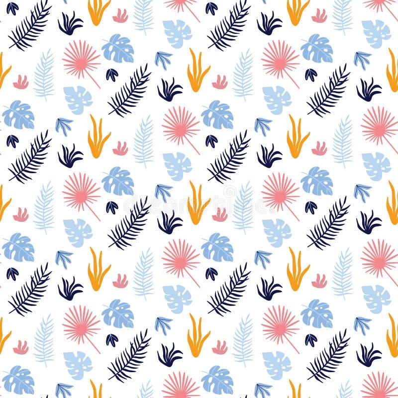 Teste padrão sem emenda do vetor colorido com folhas tropicais ilustração stock
