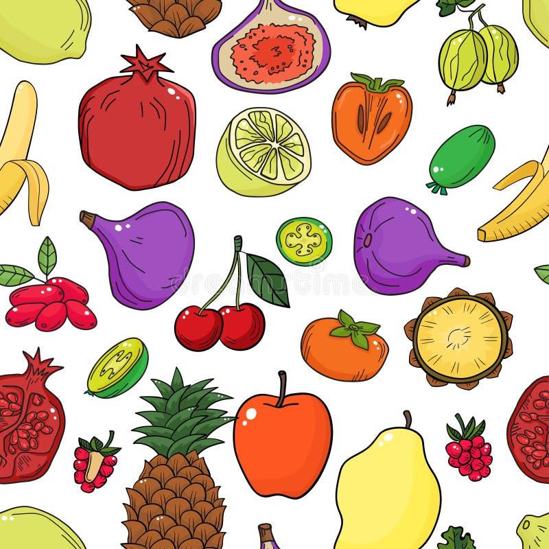 Teste padrão sem emenda do vetor colorido com frutos Fundo saudável abstrato do alimento ilustração do vetor
