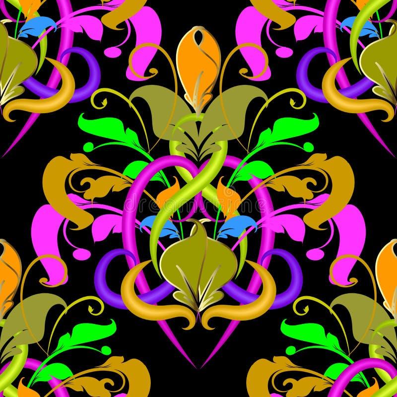 Teste padrão sem emenda do vetor colorido do damasco Vagabundos florais brilhantes ornamentado ilustração do vetor