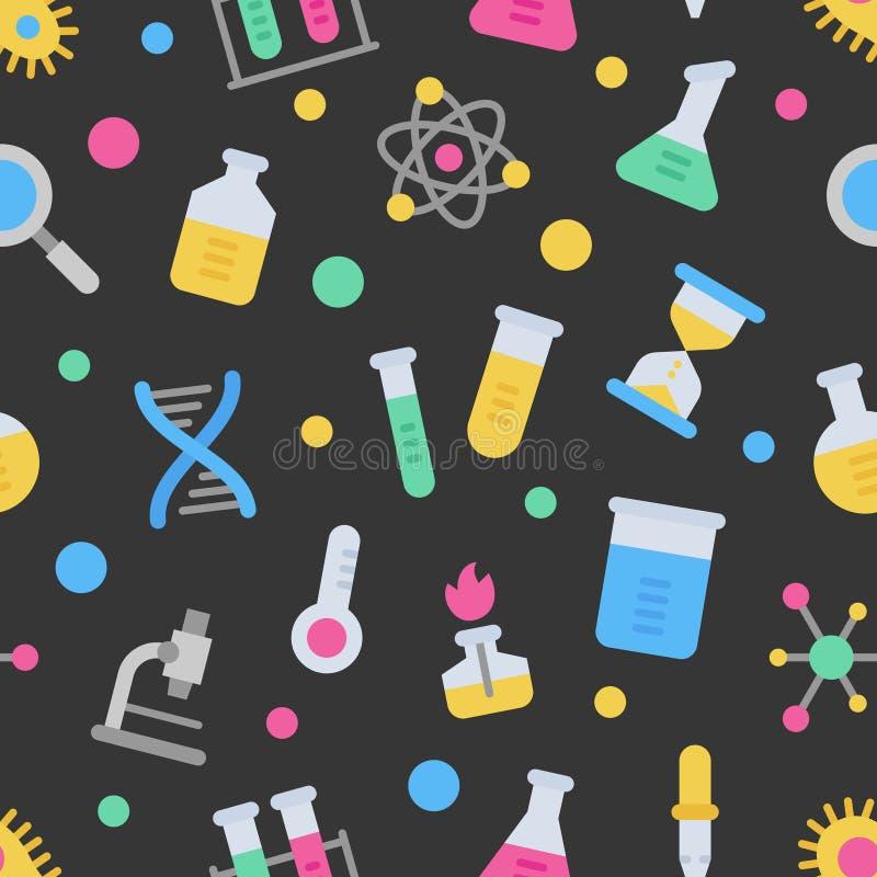 Teste padrão sem emenda do vetor colorido do laboratório de ciência da química no fundo escuro ilustração do vetor