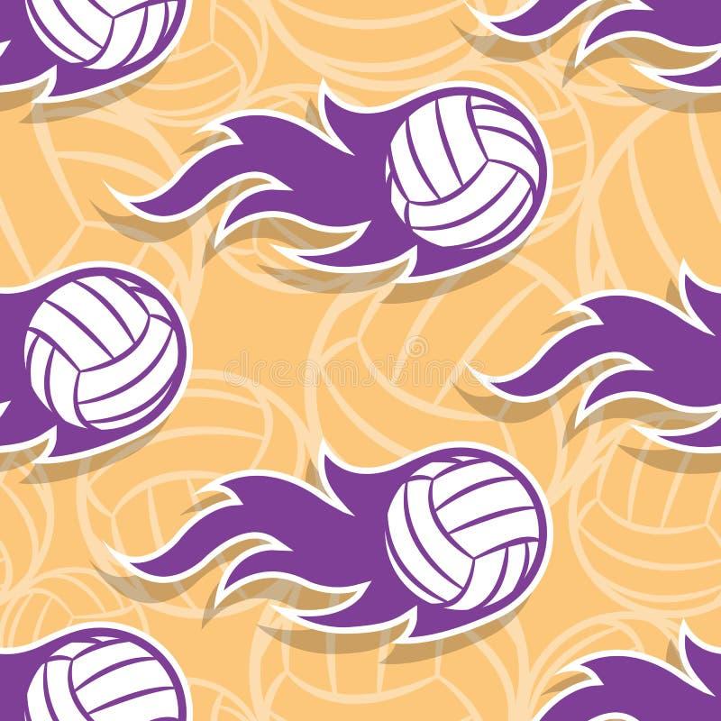 Teste padrão sem emenda do vetor com ícones e chamas da bola do voleibol ilustração do vetor