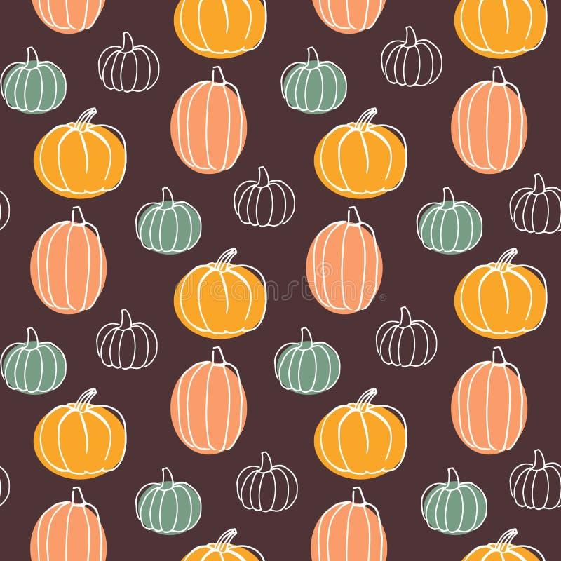 Teste padrão sem emenda do vetor com abóboras ilustração colorida tirada mão Halloween feliz ilustração stock