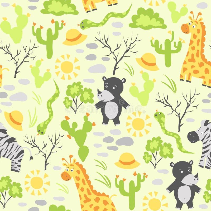 Teste padrão sem emenda do vetor com animais africanos ilustração stock