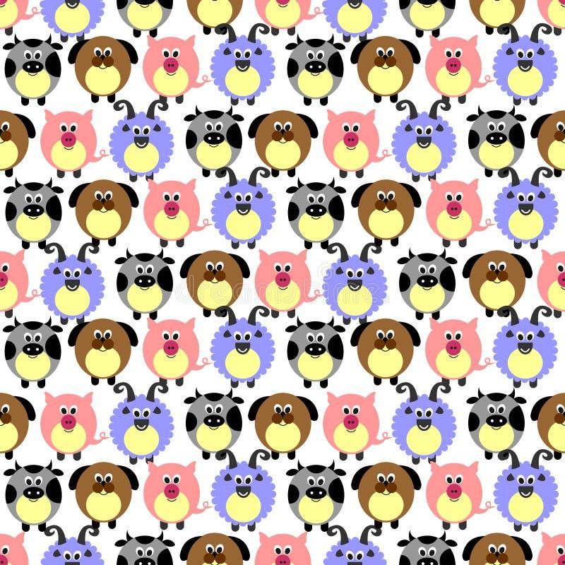 Teste padrão sem emenda do vetor com animais Fundo bonito com porcos, os carneiros, os cães e as vacas cômicos no contexto branco ilustração stock