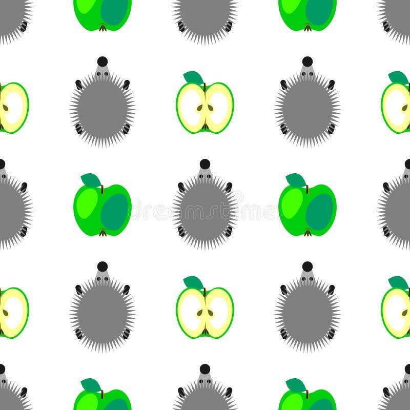 Teste padrão sem emenda do vetor com animais, fundo colorido com ouriços e maçãs verdes, sobre o contexto claro ilustração stock