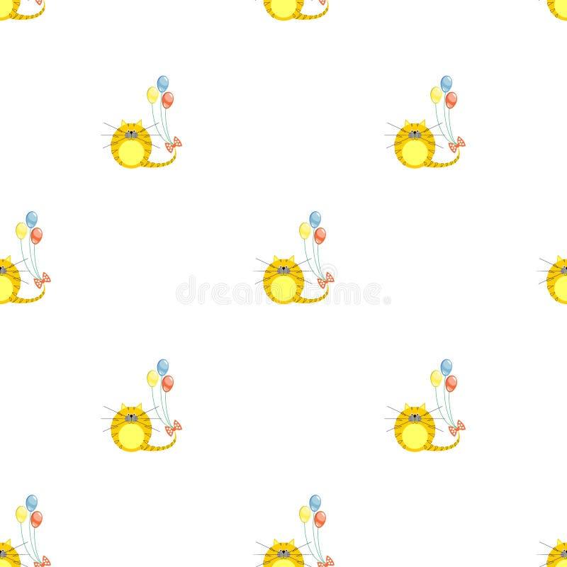 Teste padrão sem emenda do vetor com animais Fundo simétrico bonito com gatos vermelhos e os balões coloridos no contexto branco ilustração royalty free