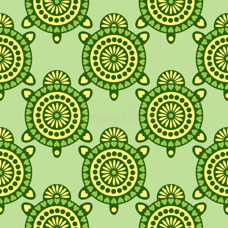 Teste padrão sem emenda do vetor com animais Fundo simétrico com as tartarugas decorativas do close up no contexto verde ilustração stock