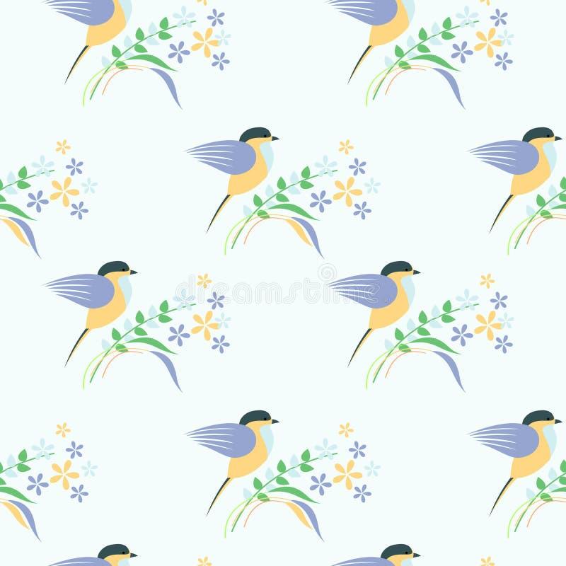 Teste padrão sem emenda do vetor com animais Fundo simétrico com pássaros, as folhas e as flores coloridos no contexto claro ilustração royalty free