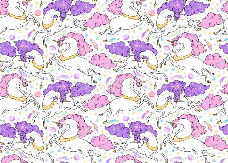 Teste padrão sem emenda do vetor com animais míticos Unicórnios brancos bonitos de galope com chifre dourado, rosa, juba violeta, ilustração do vetor