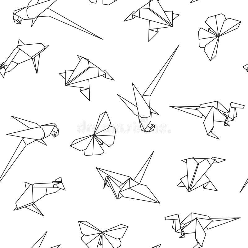 Teste padrão sem emenda do vetor com animais do origâmi Fundo creativo abstrato ilustração royalty free