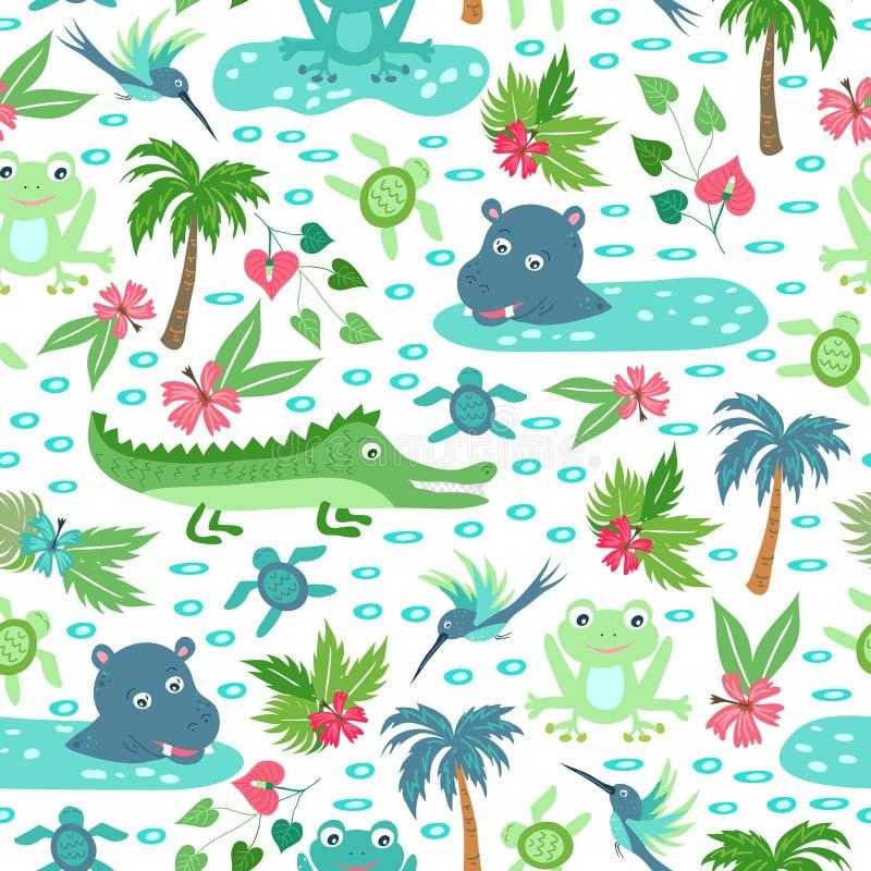 Teste padrão sem emenda do vetor com animais tropicais ilustração stock
