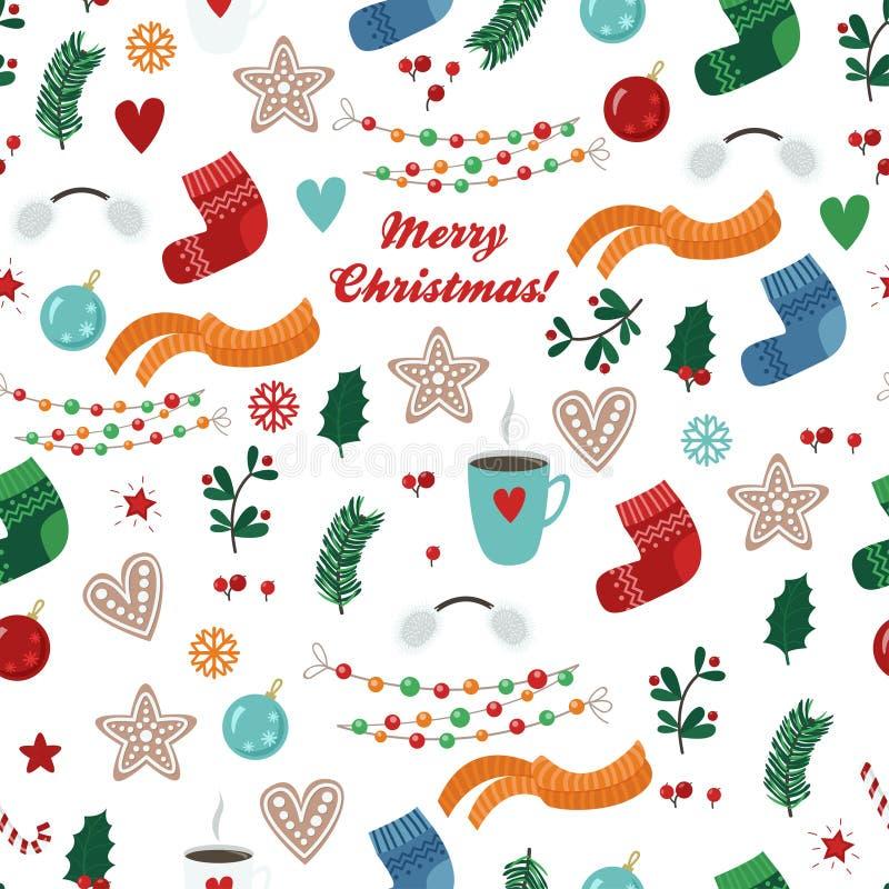 Teste padrão sem emenda do vetor com artigos do Natal: peúga, lenço, copo, cookie, bola, festão, ramo, folha ilustração do vetor