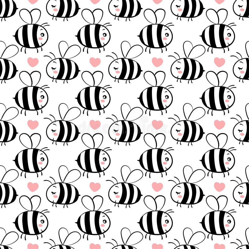 Teste padrão sem emenda do vetor com as abelhas no amor ilustração stock