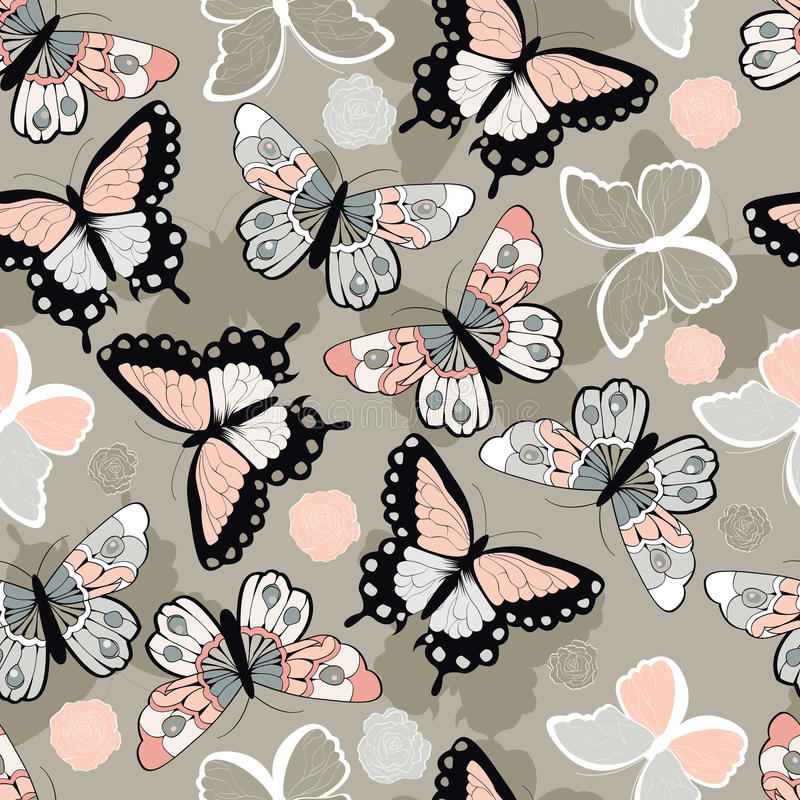 Teste padrão sem emenda do vetor com as borboletas coloridas tiradas mão ilustração stock