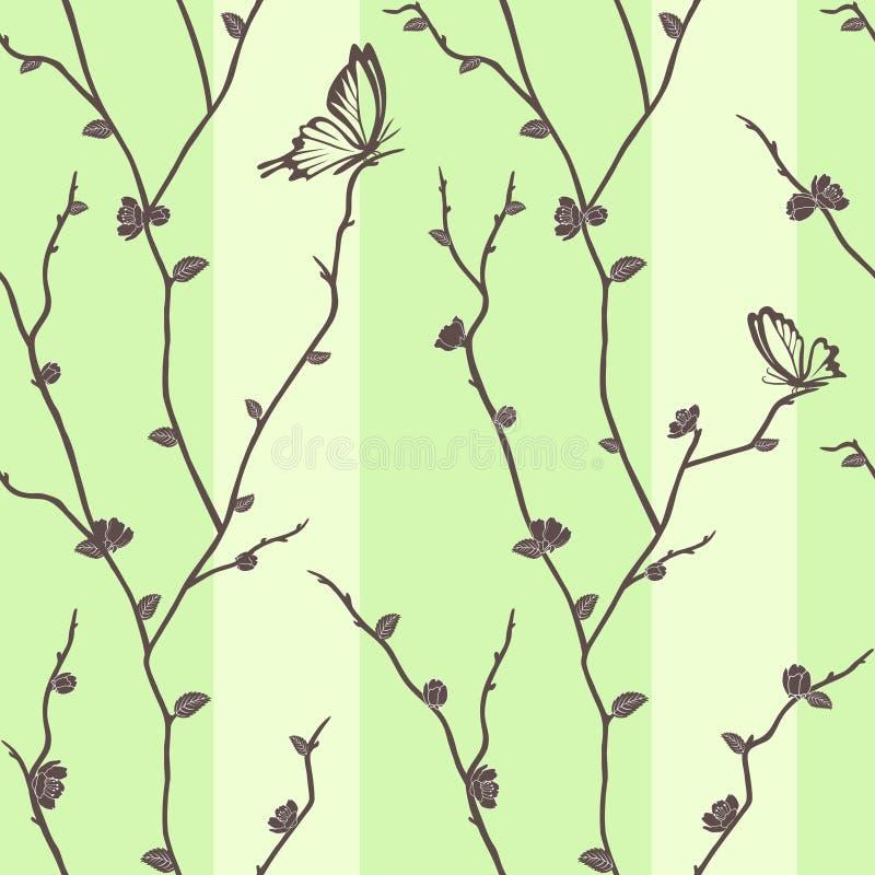 Teste padrão sem emenda do vetor com as borboletas em sakura ilustração stock