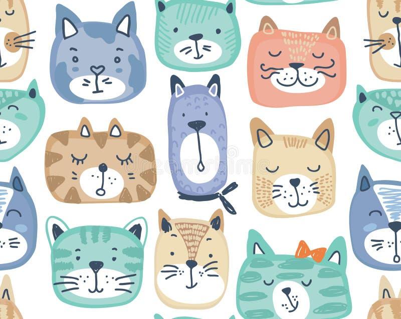 Teste padrão sem emenda do vetor com as caras coloridas tiradas mão do gato ilustração stock