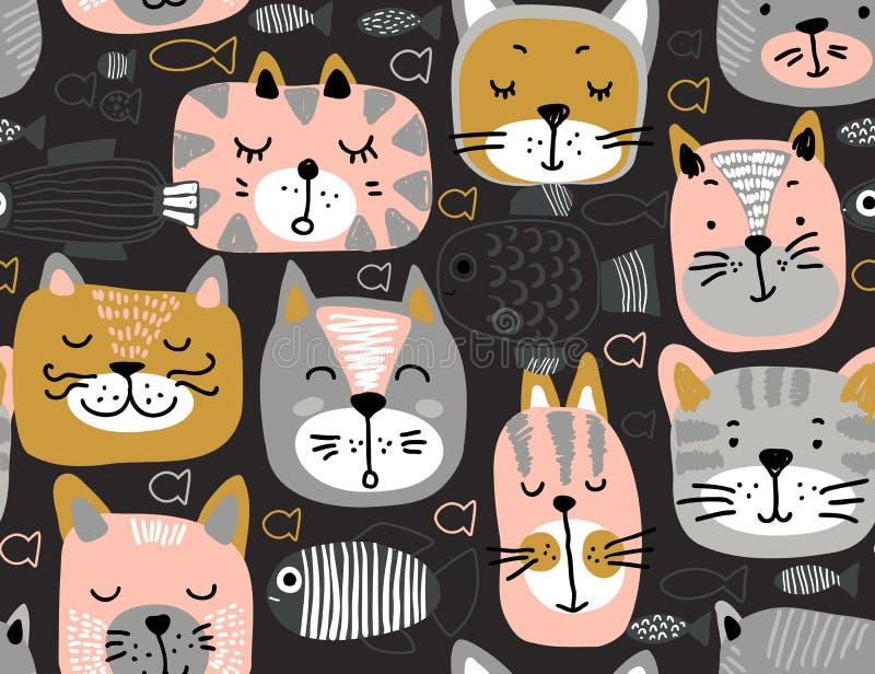 Teste padrão sem emenda do vetor com as caras coloridas tiradas mão do gato e os peixes gráficos ilustração royalty free