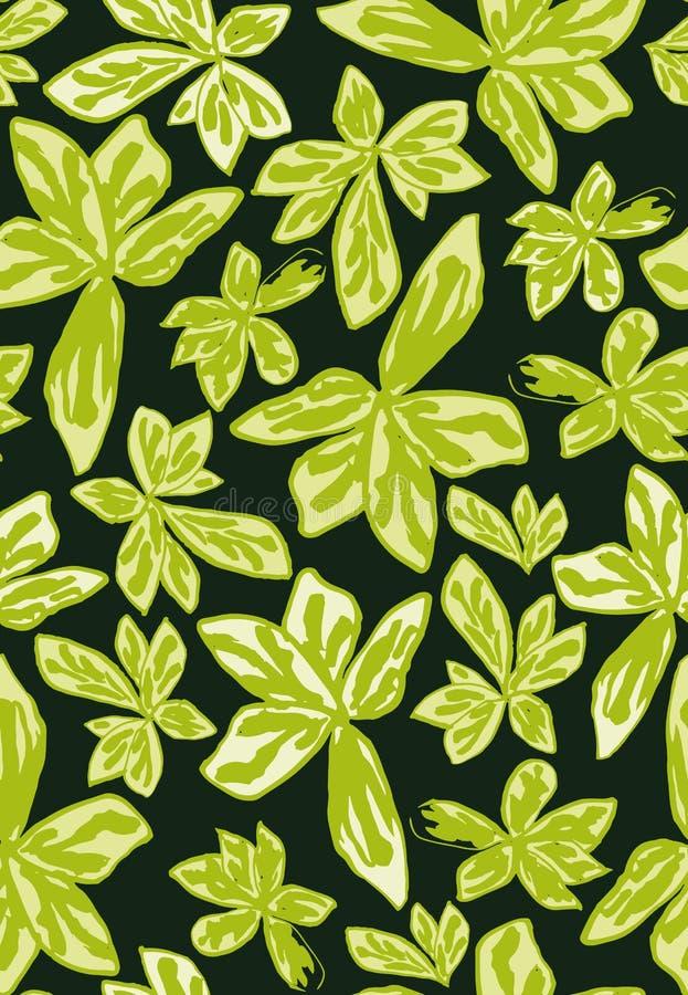 Teste padrão sem emenda do vetor com as duas folhas tropicais das máscaras ilustração royalty free