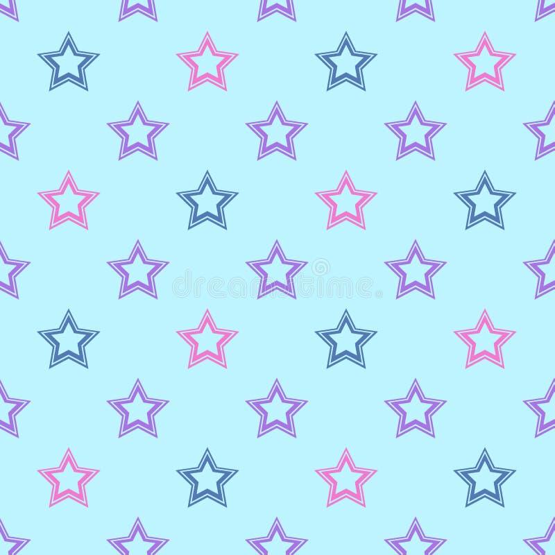 Teste padrão sem emenda do vetor com as estrelas coloridas no fundo azul ilustração do vetor