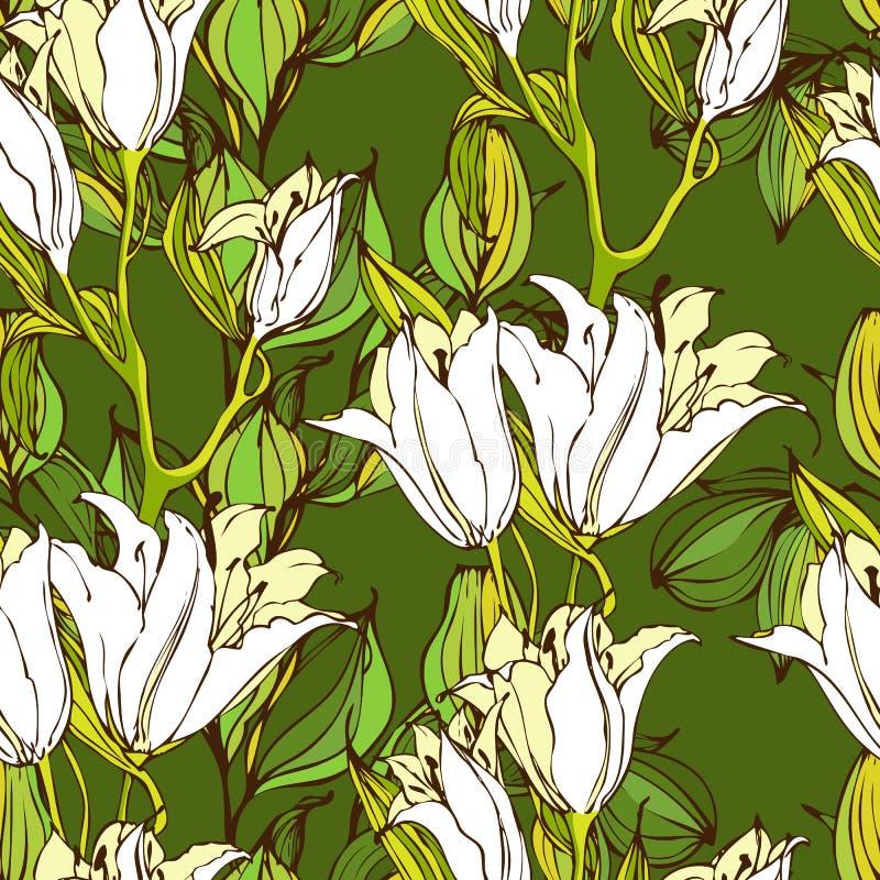 Teste padrão sem emenda do vetor com as flores do lírio branco ilustração royalty free
