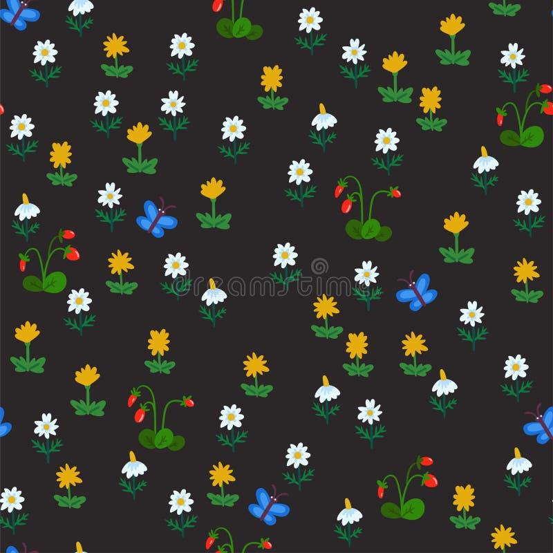 Teste padrão sem emenda do vetor com as flores do verão isoladas no fundo escuro Textura tirada mão da cor com camomila, dentes-d ilustração do vetor
