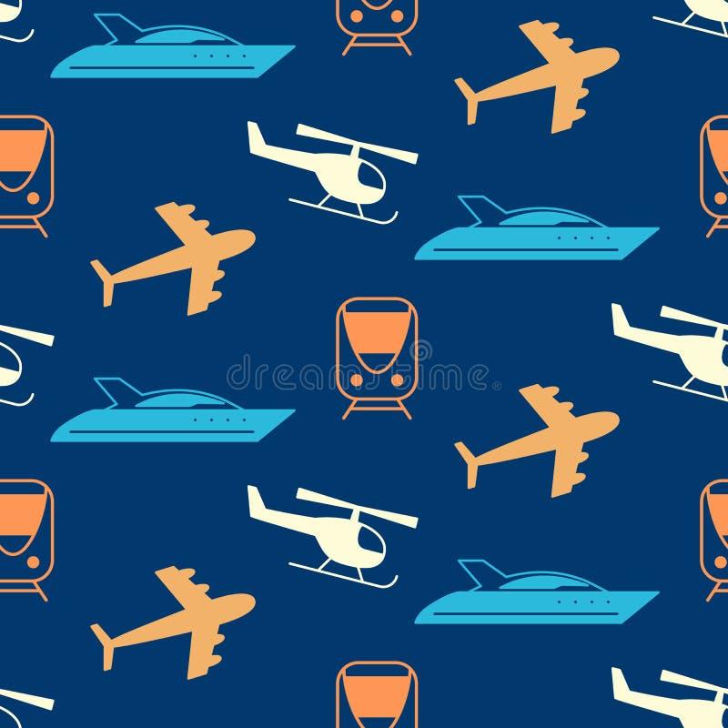 Teste padrão sem emenda do vetor com as silhuetas dos ícones do transporte ilustração royalty free