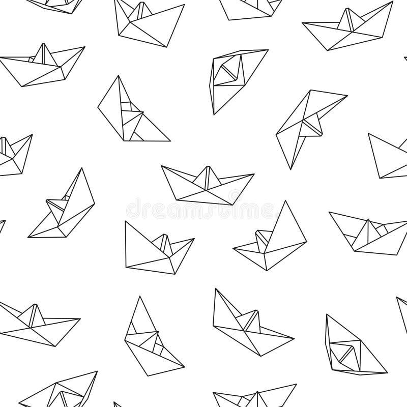 Teste padrão sem emenda do vetor com barco do origâmi Fundo creativo abstrato ilustração royalty free