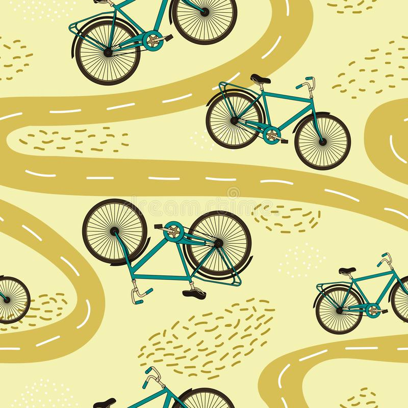 Teste padrão sem emenda do vetor com bicicletas e trajetos ilustração royalty free
