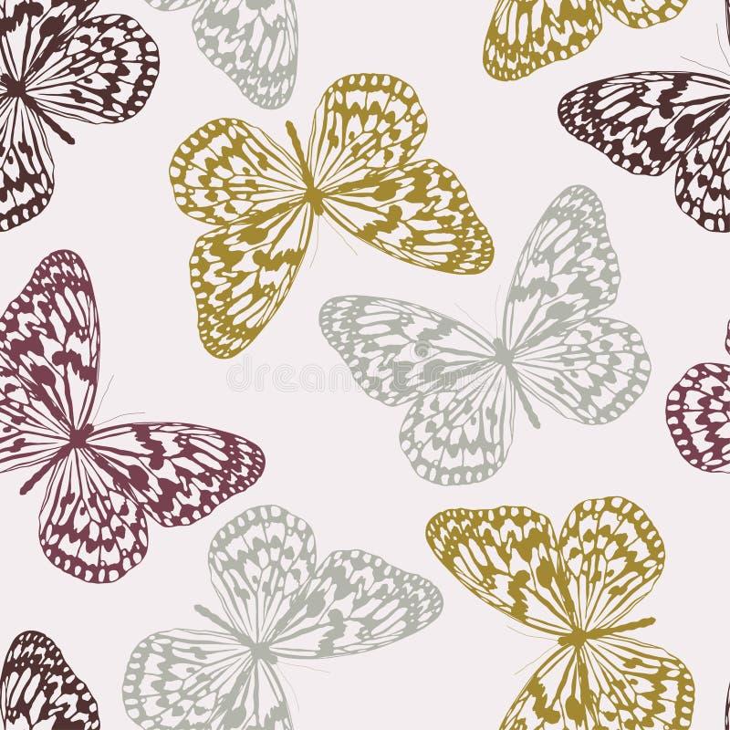 Teste padrão sem emenda do vetor com borboletas ilustração royalty free