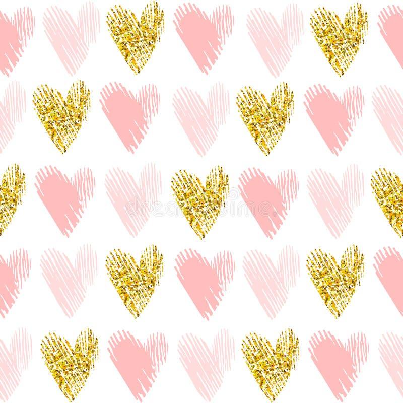 Teste padrão sem emenda do vetor com brilho do ouro ilustração do vetor
