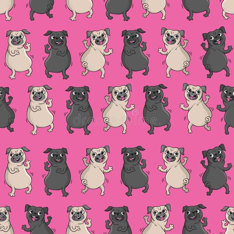 Teste padrão sem emenda do vetor com cães engraçados ilustração stock