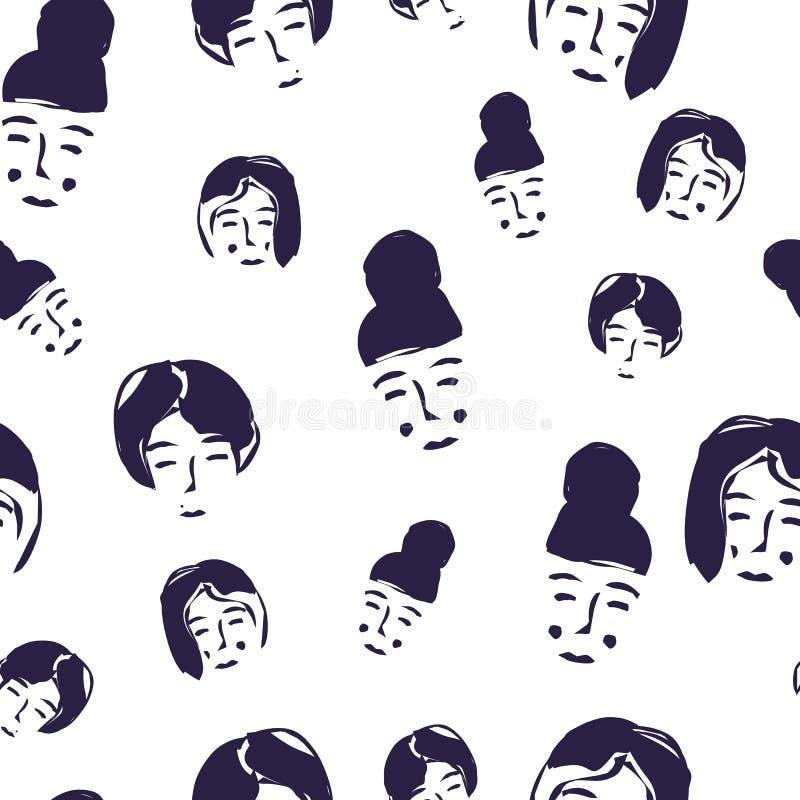 Teste padrão sem emenda do vetor com caras das mulheres Ilustração desenhada mão do vetor ilustração stock