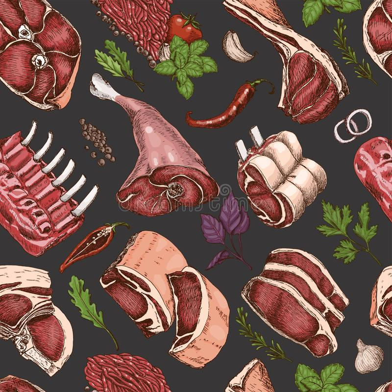 Teste padrão sem emenda do vetor com carnes ilustração stock
