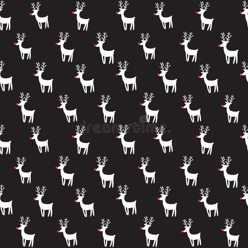 Teste padrão sem emenda do vetor com cervos da rédea ilustração stock